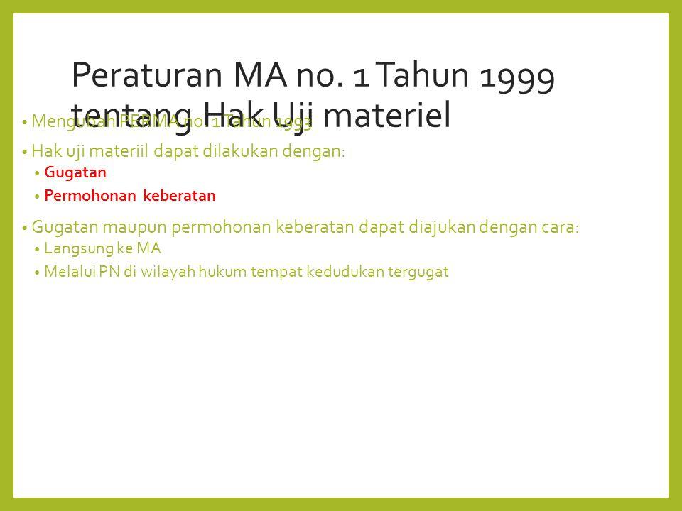 Peraturan MA no. 1 Tahun 1999 tentang Hak Uji materiel Mengubah PERMA no.