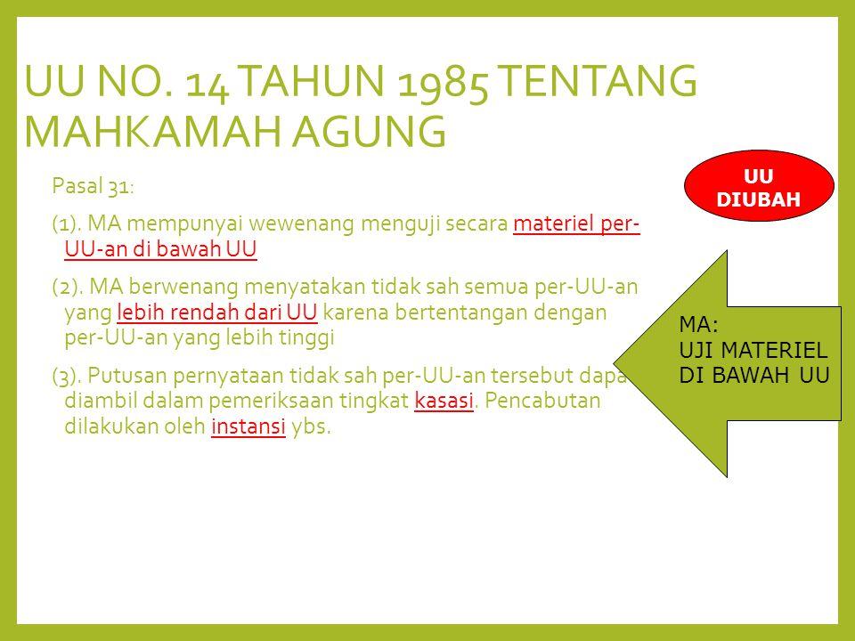 UU NO. 14 TAHUN 1985 TENTANG MAHKAMAH AGUNG Pasal 31: (1).