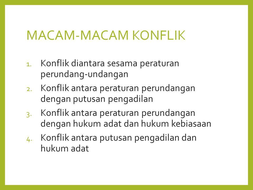 MACAM-MACAM KONFLIK 1. Konflik diantara sesama peraturan perundang-undangan 2.