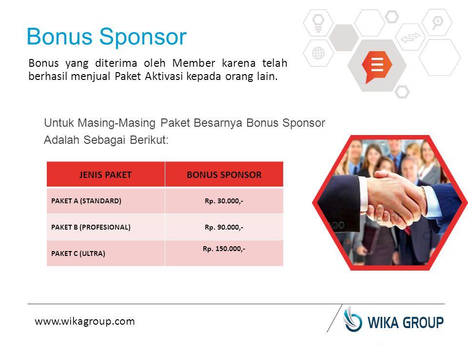 Untuk Masing-Masing Paket Besarnya Bonus Sponsor Adalah Sebagai Berikut: Bonus Sponsor Bonus yang diterima oleh Member karena telah berhasil menjual Paket Aktivasi kepada orang lain.