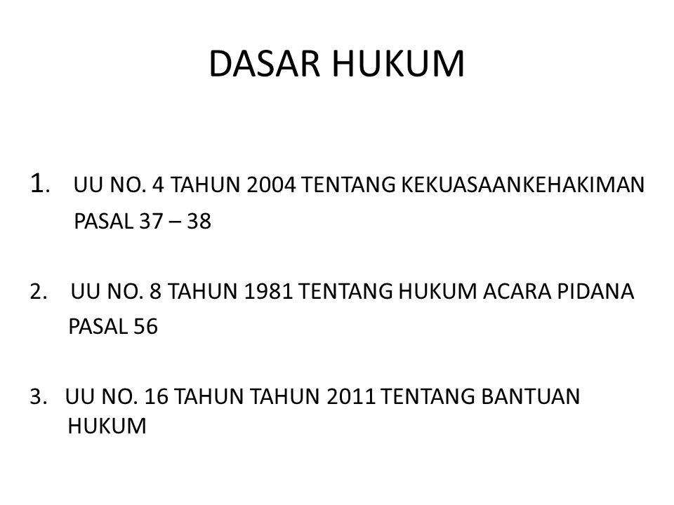 DASAR HUKUM 1.UU NO. 4 TAHUN 2004 TENTANG KEKUASAANKEHAKIMAN PASAL 37 – 38 2.