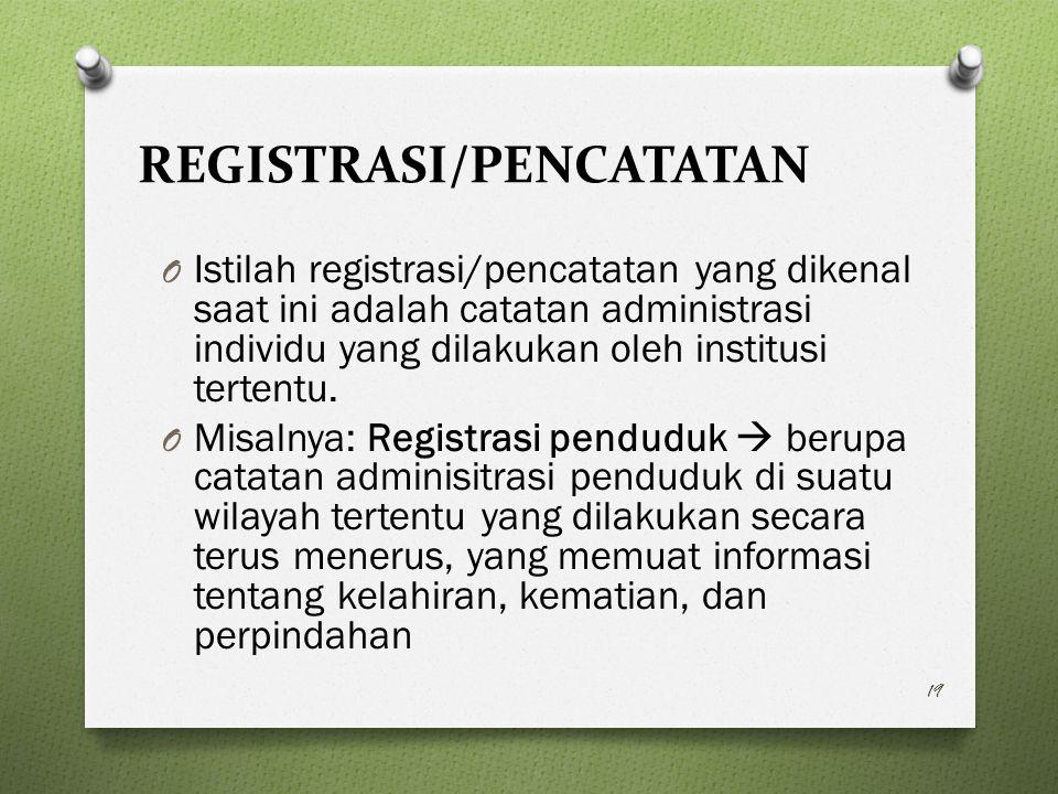 REGISTRASI/PENCATATAN O Istilah registrasi/pencatatan yang dikenal saat ini adalah catatan administrasi individu yang dilakukan oleh institusi tertentu.