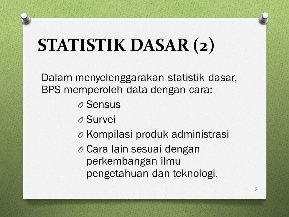 STATISTIK DASAR (2) Dalam menyelenggarakan statistik dasar, BPS memperoleh data dengan cara: O Sensus O Survei O Kompilasi produk administrasi O Cara lain sesuai dengan perkembangan ilmu pengetahuan dan teknologi.