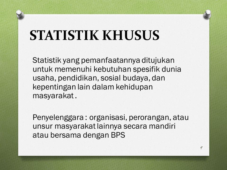 STATISTIK KHUSUS Statistik yang pemanfaatannya ditujukan untuk memenuhi kebutuhan spesifik dunia usaha, pendidikan, sosial budaya, dan kepentingan lain dalam kehidupan masyarakat.