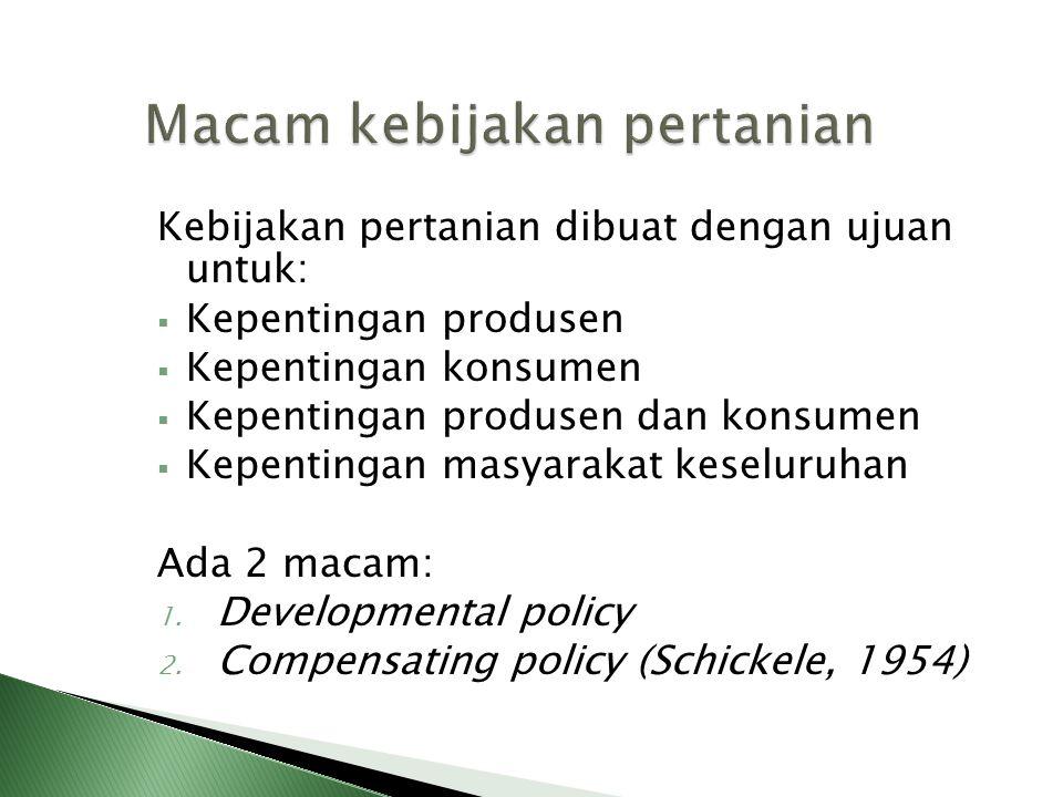 Kebijakan pertanian dibuat dengan ujuan untuk:  Kepentingan produsen  Kepentingan konsumen  Kepentingan produsen dan konsumen  Kepentingan masyara