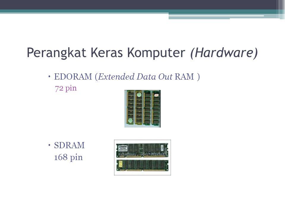 Perangkat Keras Komputer (Hardware)  EDORAM (Extended Data Out RAM ) 72 pin  SDRAM 168 pin