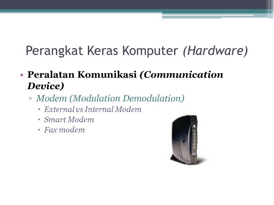 Perangkat Keras Komputer (Hardware) Peralatan Komunikasi (Communication Device) ▫Modem (Modulation Demodulation)  External vs Internal Modem  Smart