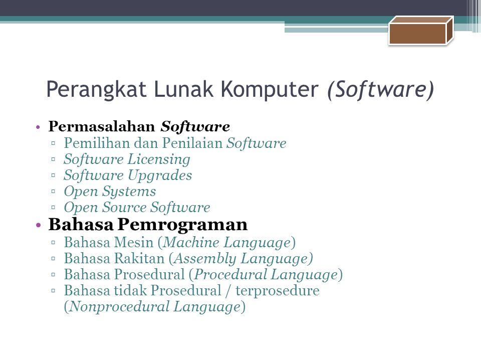 Perangkat Lunak Komputer (Software) Permasalahan Software ▫Pemilihan dan Penilaian Software ▫Software Licensing ▫Software Upgrades ▫Open Systems ▫Open