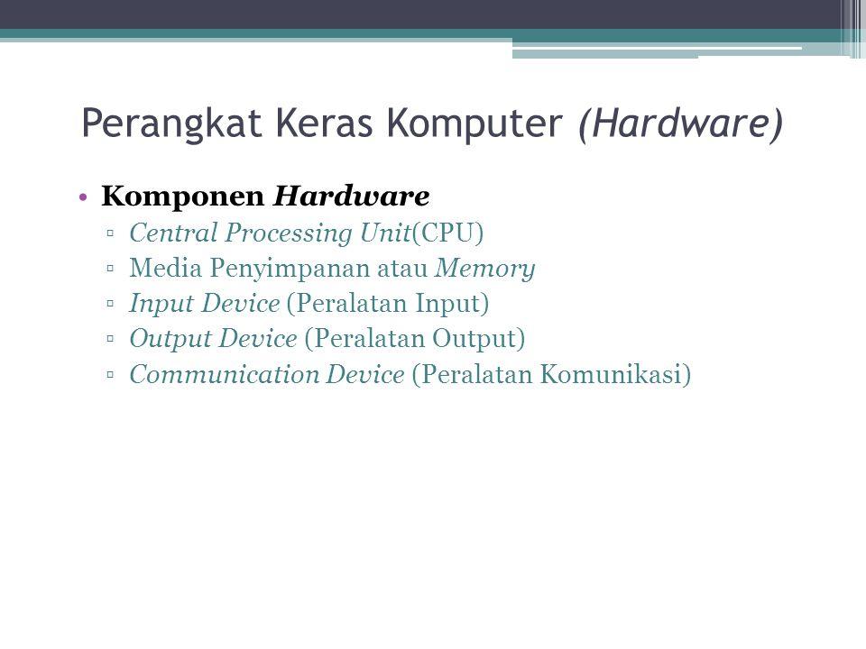 Perangkat Keras Komputer (Hardware) Komponen Hardware ▫Central Processing Unit(CPU) ▫Media Penyimpanan atau Memory ▫Input Device (Peralatan Input) ▫Ou