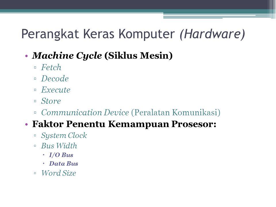 Perangkat Keras Komputer (Hardware) Machine Cycle (Siklus Mesin) ▫Fetch ▫Decode ▫Execute ▫Store ▫Communication Device (Peralatan Komunikasi) Faktor Pe