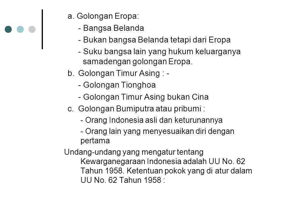 Orang bangsa Indonesia asli adalah warga negara yang pada zaman belanda digolongkan sebagai golongan penduduk Bumiputra. Orang bangsa lain adalah oran