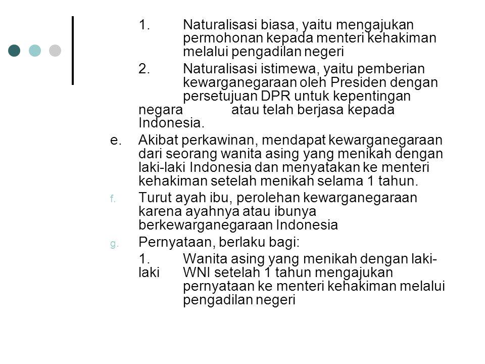 Pewarganegaraan secara sempit adalah salah satu cara memperoleh kewarganegaraan di Indonesia. Di sebut juga pewarganegaraan secara naturalisasi. Cara