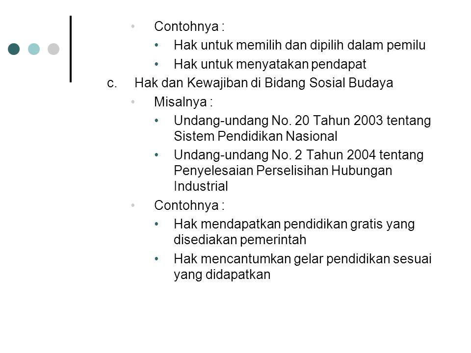 Misalnya : Undang-undang No. 8 Tahun 1981 tentang KUHAP Undang-undang No. 32 Tahun 2004 tentang Pemerintahan Daerah Undang-undang No. 14 Tahun 1992 te