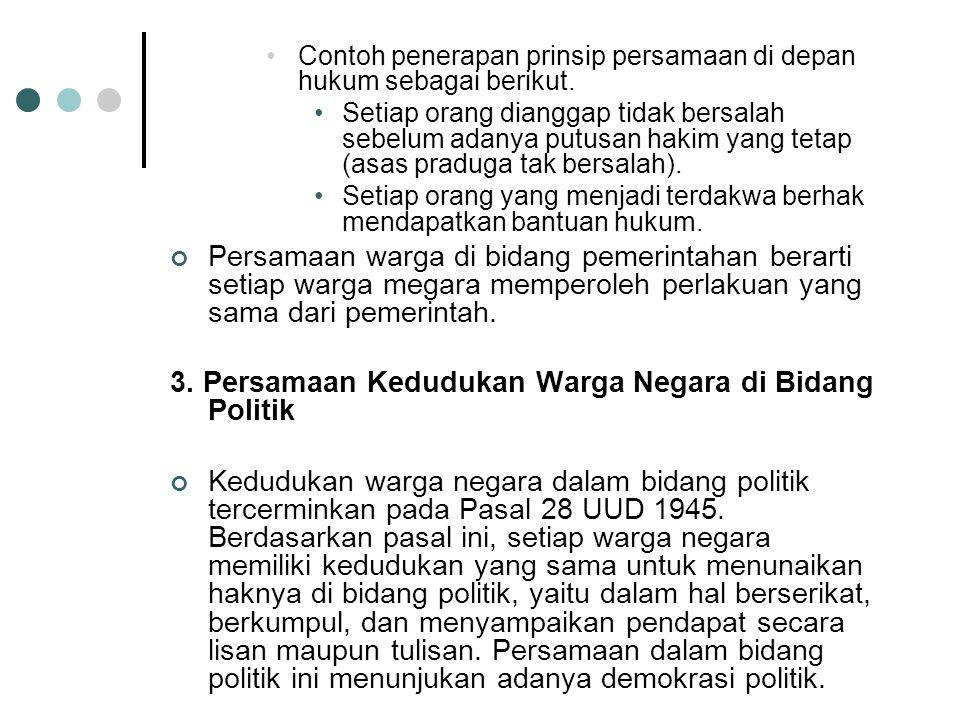 2. Persamaan Kedudukan Warga Negara di Bidang Hukum dan Pemerintahan Persamaan kedudukan warga negara Indonesia dalam bidang hukum dan pemerintahan se