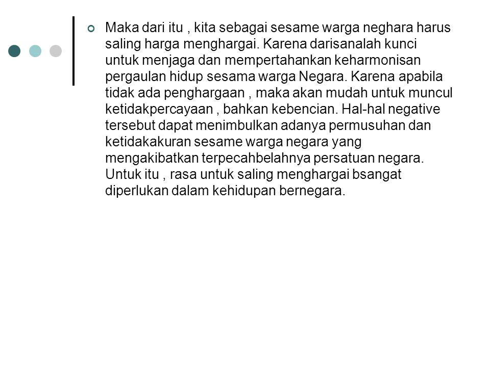 D.Menghargai Persamaan Kedudukan Warga Negara Setiap warga Negara Indonesia memiliki kedudukan yang sama sebagai warga Negara. Kedudukan yang sama ter