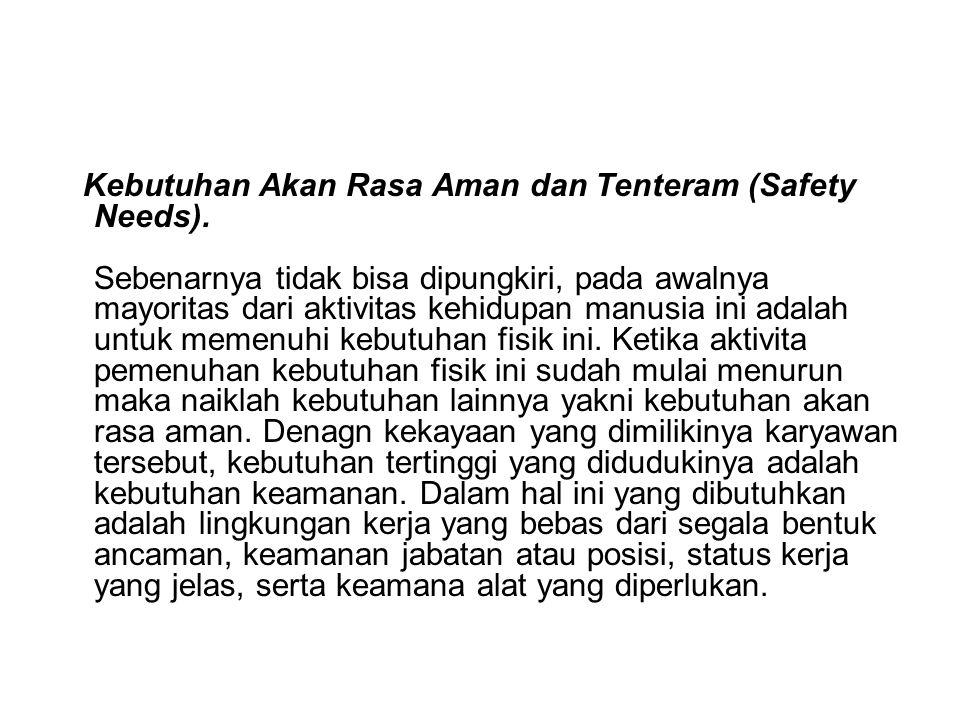 Kebutuhan Akan Rasa Aman dan Tenteram (Safety Needs).
