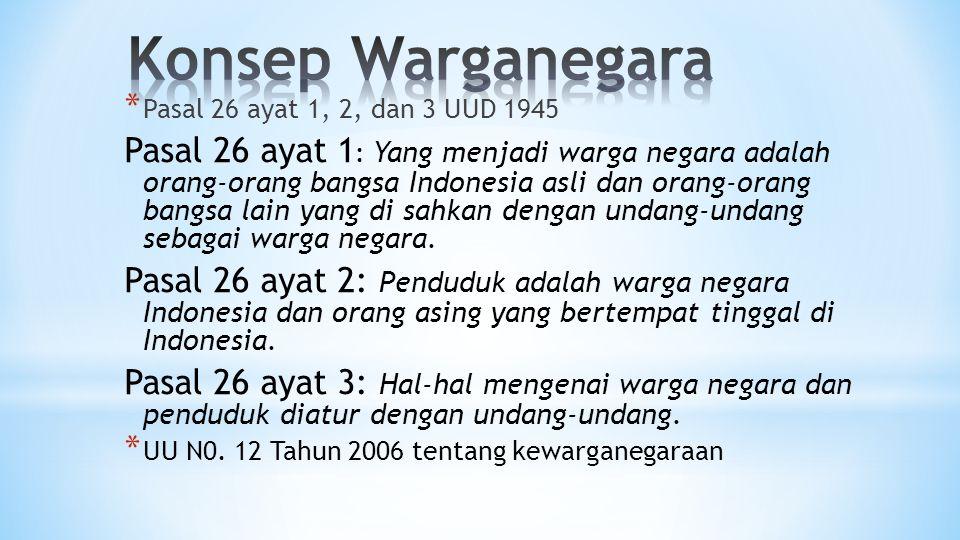 * Pasal 26 ayat 1, 2, dan 3 UUD 1945 Pasal 26 ayat 1 : Yang menjadi warga negara adalah orang-orang bangsa Indonesia asli dan orang-orang bangsa lain yang di sahkan dengan undang-undang sebagai warga negara.
