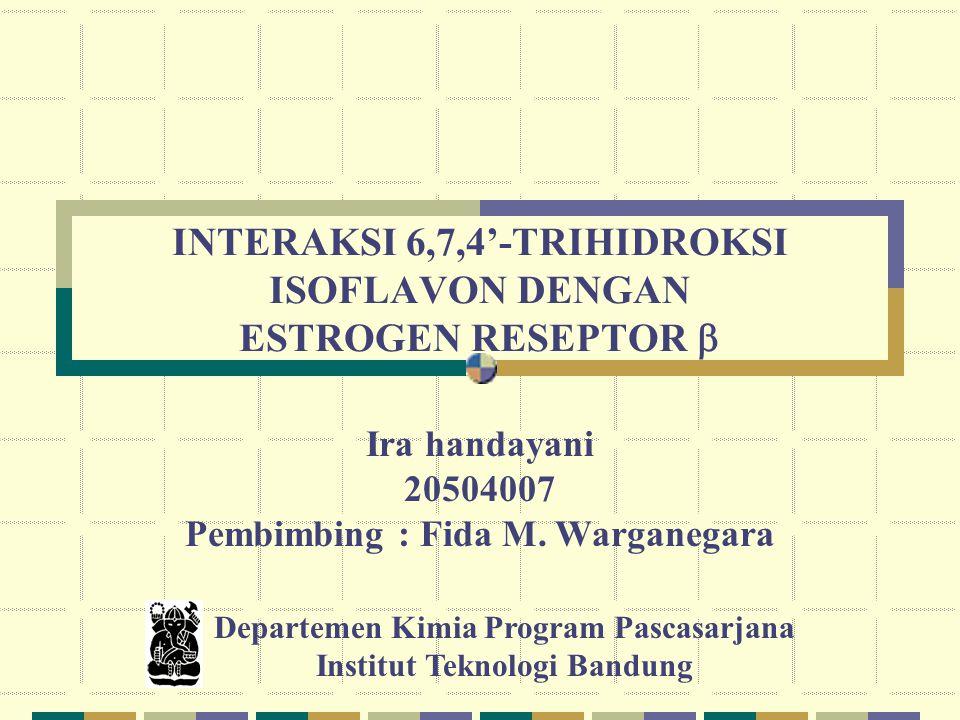 INTERAKSI 6,7,4'-TRIHIDROKSI ISOFLAVON DENGAN ESTROGEN RESEPTOR  Ira handayani 20504007 Pembimbing : Fida M.