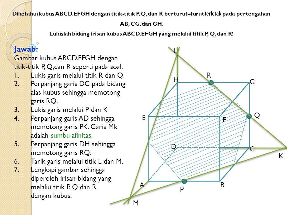 AB C D E F G H P Q R Diketahui kubus ABCD.EFGH dengan titik-titik P, Q, dan R berturut–turut terletak pada pertengahan AB, CG, dan GH. Lukislah bidang