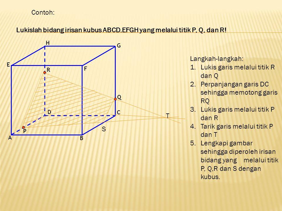 Lukislah bidang irisan kubus ABCD.EFGH yang melalui titik P, Q, dan R! Contoh: A B C D E F G H P Q R S Langkah-langkah: 1.Lukis garis melalui titik R