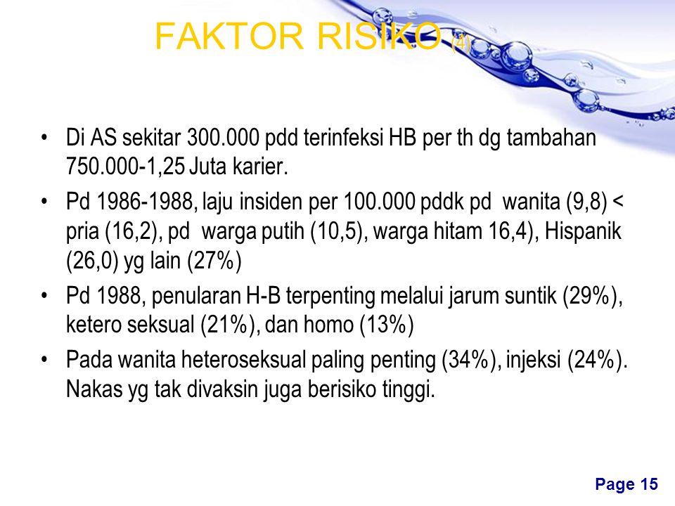 Free Powerpoint Templates Page 14 FAKTOR RISIKO (3) Hapatitis B berisiko serosis 15 x lebih besar Prevalensi infeksi HB di Afrika, China, Asia Tenggar