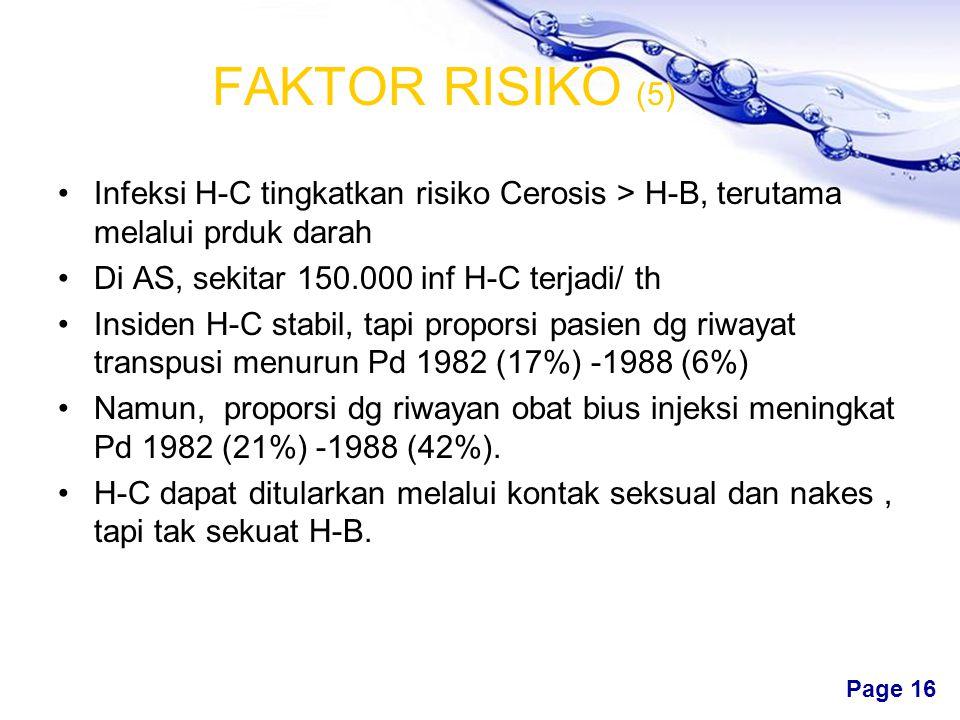Free Powerpoint Templates Page 15 FAKTOR RISIKO (4) Di AS sekitar 300.000 pdd terinfeksi HB per th dg tambahan 750.000-1,25 Juta karier. Pd 1986-1988,