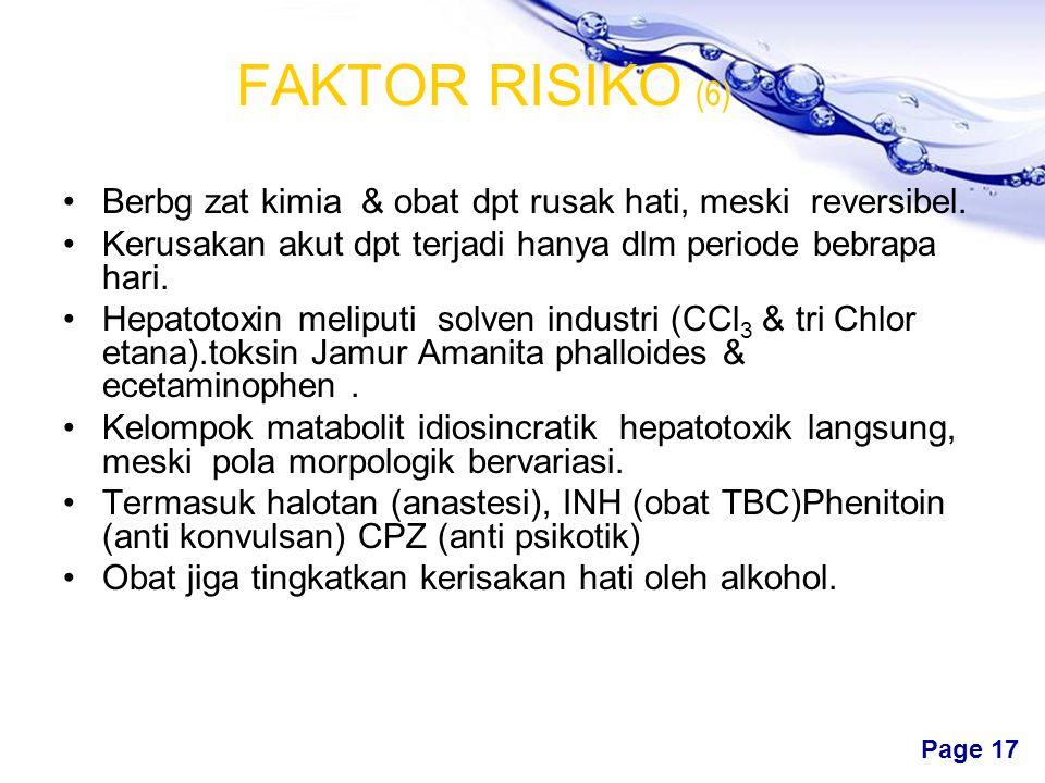 Free Powerpoint Templates Page 16 FAKTOR RISIKO (5) Infeksi H-C tingkatkan risiko Cerosis > H-B, terutama melalui prduk darah Di AS, sekitar 150.000 i