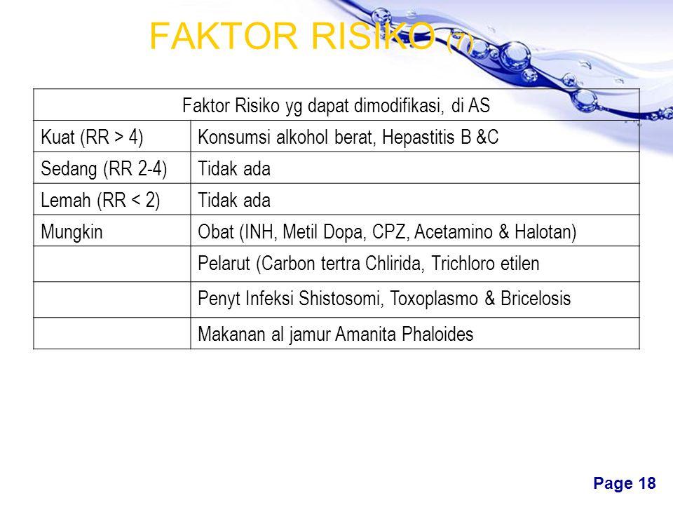 Free Powerpoint Templates Page 17 FAKTOR RISIKO (6) Berbg zat kimia & obat dpt rusak hati, meski reversibel. Kerusakan akut dpt terjadi hanya dlm peri