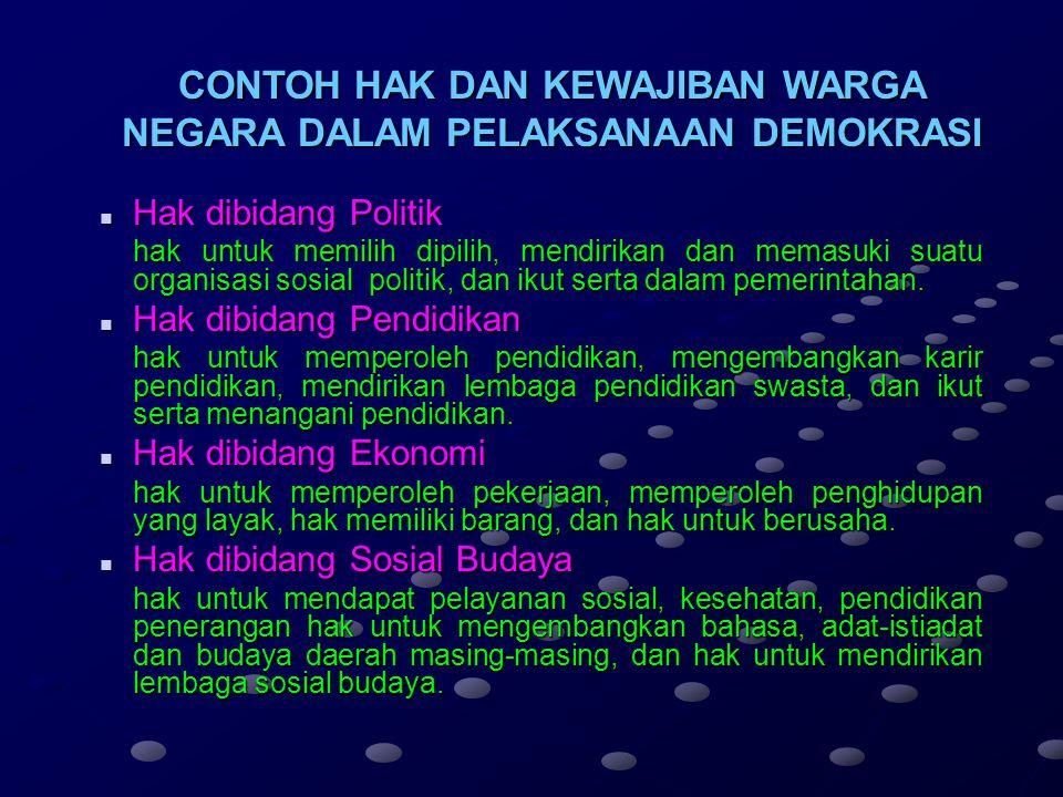 Melaksanakan hak pilih dan dipilih dalam pemilihan umum Menjunjung tinggi hukum dan pemerintahan Republik Indonesia Mensukseskan pemilihan umum yang j