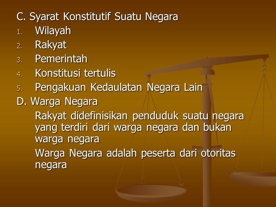 C.Syarat Konstitutif Suatu Negara 1. Wilayah 2. Rakyat 3.