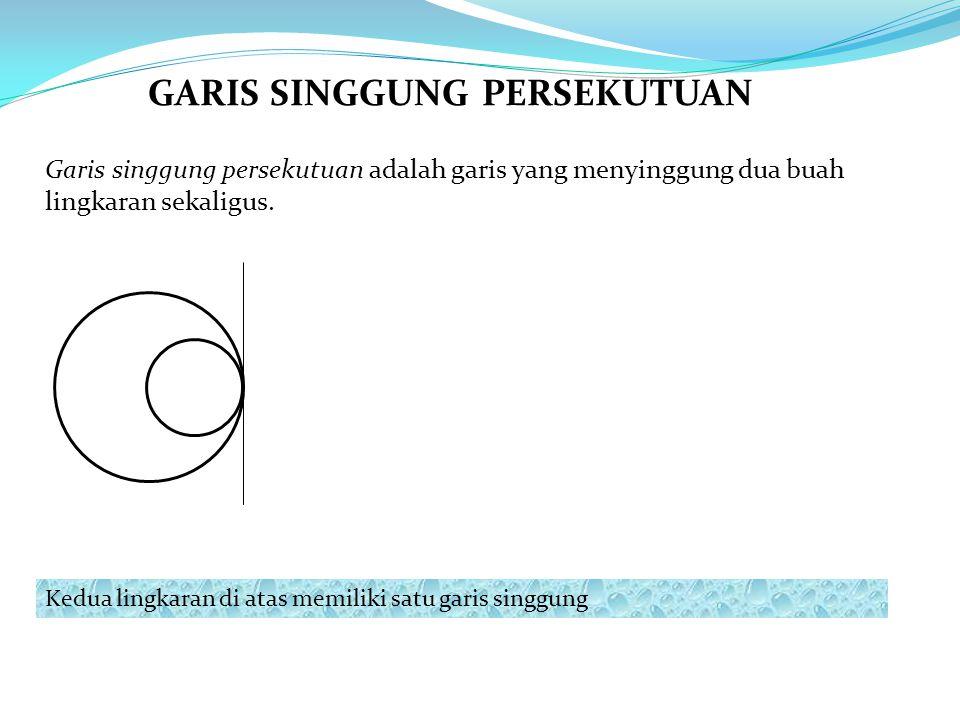Garis singgung persekutuan adalah garis yang menyinggung dua buah lingkaran sekaligus. Kedua lingkaran di atas memiliki satu garis singgung GARIS SING