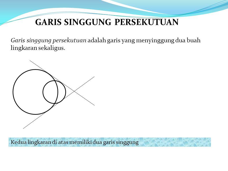 Garis singgung persekutuan adalah garis yang menyinggung dua buah lingkaran sekaligus. Kedua lingkaran di atas memiliki dua garis singgung GARIS SINGG