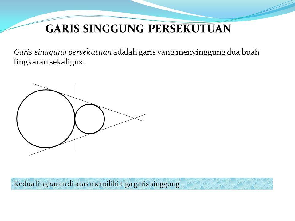 Garis singgung persekutuan adalah garis yang menyinggung dua buah lingkaran sekaligus. Kedua lingkaran di atas memiliki tiga garis singgung GARIS SING