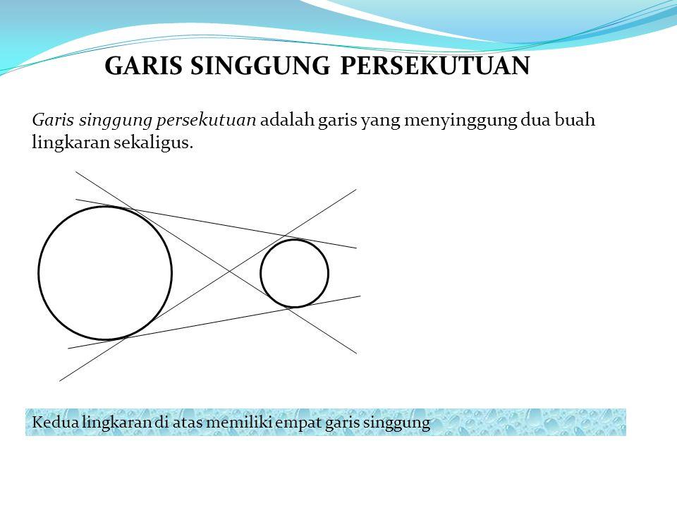 Garis singgung persekutuan adalah garis yang menyinggung dua buah lingkaran sekaligus. Kedua lingkaran di atas memiliki empat garis singgung GARIS SIN