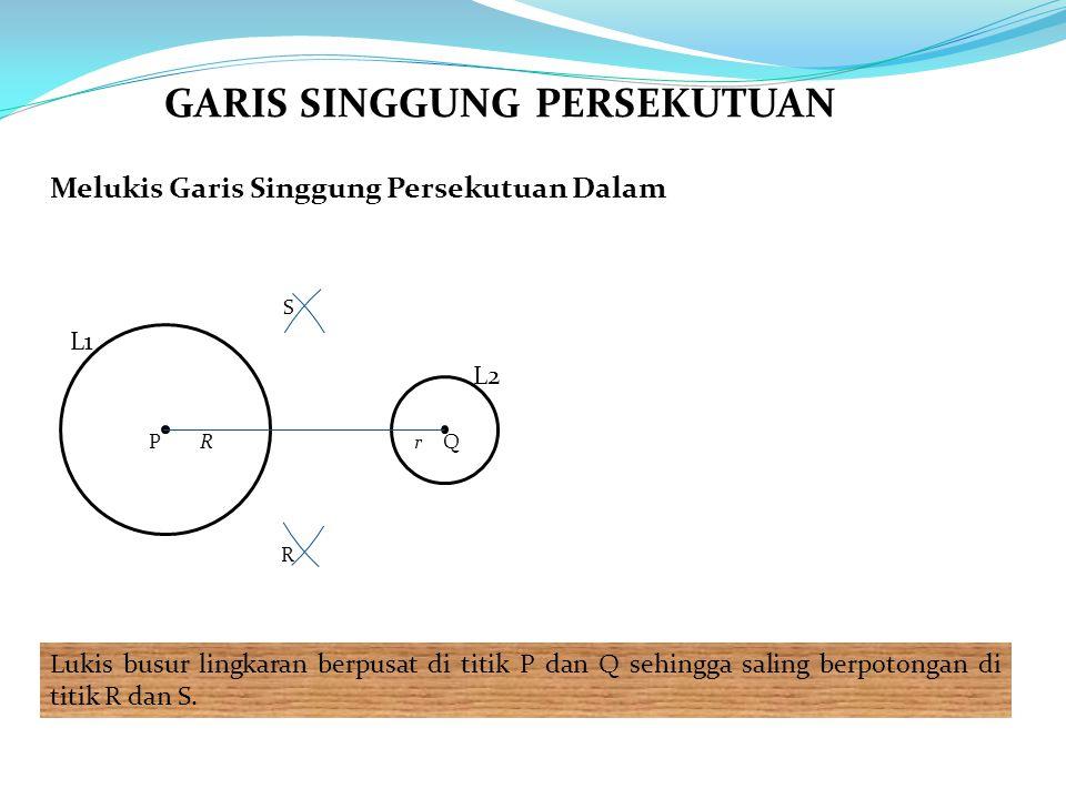 Melukis Garis Singgung Persekutuan Dalam Lukis busur lingkaran berpusat di titik P dan Q sehingga saling berpotongan di titik R dan S. L1 L2 PQRr R S