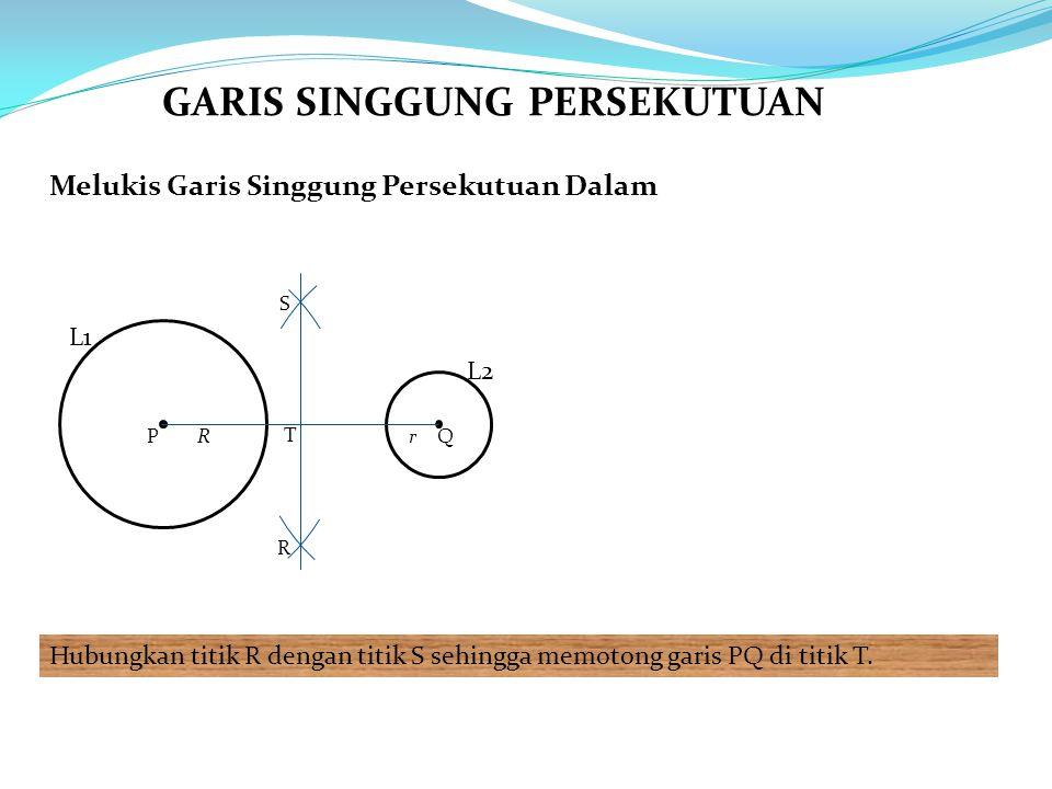 Melukis Garis Singgung Persekutuan Dalam Hubungkan titik R dengan titik S sehingga memotong garis PQ di titik T. L1 L2 PQRr R S T GARIS SINGGUNG PERSE