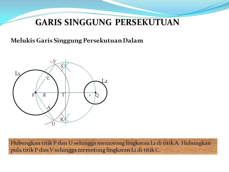 Melukis Garis Singgung Persekutuan Dalam Hubungkan titik P dan U sehingga memotong lingkaran L1 di titik A. Hubungkan pula titik P dan V sehingga memo