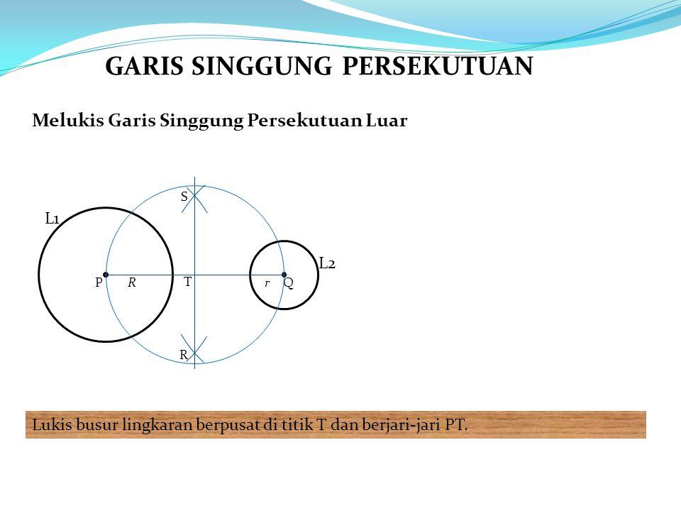 Melukis Garis Singgung Persekutuan Luar Lukis busur lingkaran berpusat di titik T dan berjari-jari PT. L1 PQRr R S T L2 GARIS SINGGUNG PERSEKUTUAN