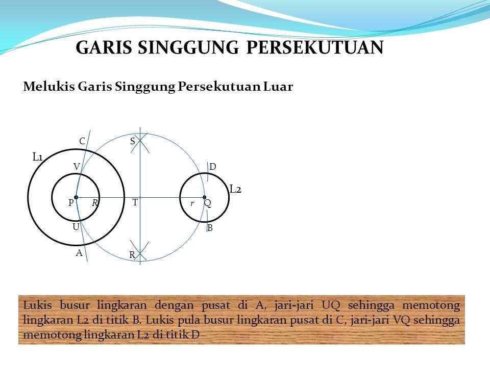 Melukis Garis Singgung Persekutuan Luar Lukis busur lingkaran dengan pusat di A, jari-jari UQ sehingga memotong lingkaran L2 di titik B. Lukis pula bu