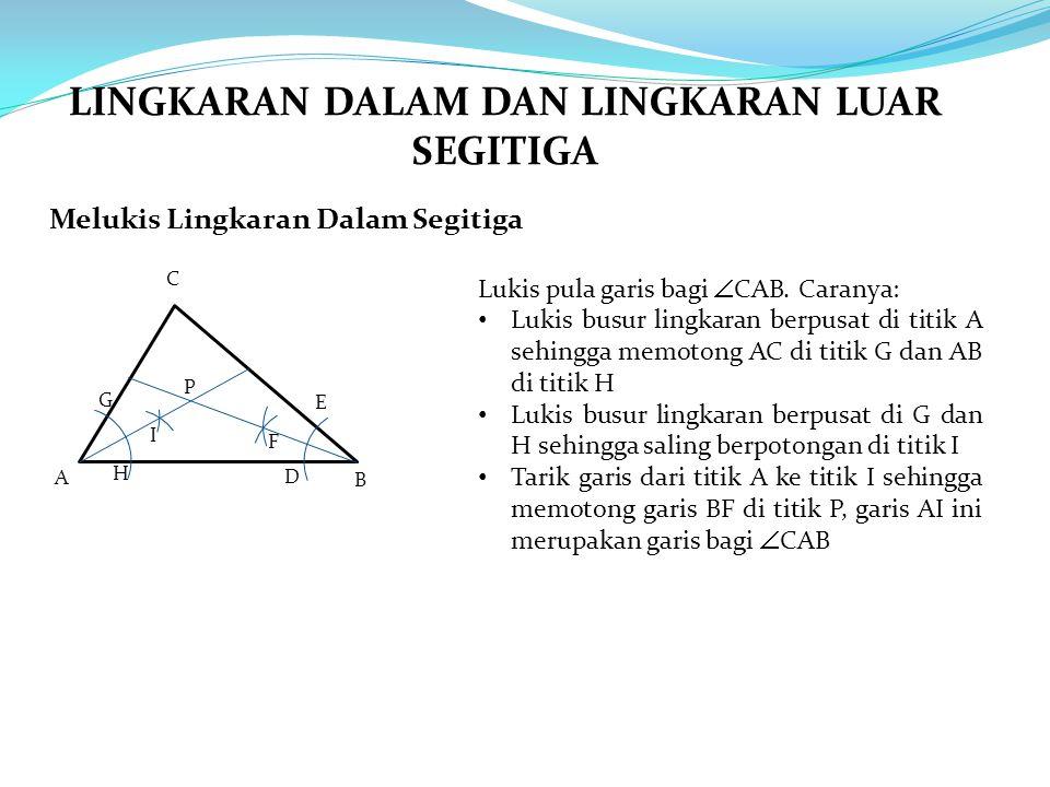 Melukis Lingkaran Dalam Segitiga A B C Lukis pula garis bagi  CAB. Caranya: Lukis busur lingkaran berpusat di titik A sehingga memotong AC di titik G
