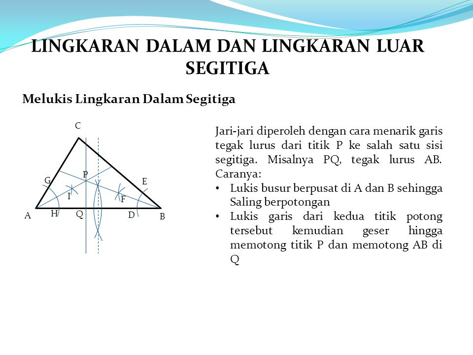 Melukis Lingkaran Dalam Segitiga A B C Jari-jari diperoleh dengan cara menarik garis tegak lurus dari titik P ke salah satu sisi segitiga. Misalnya PQ