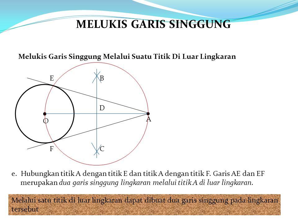 e. Hubungkan titik A dengan titik E dan titik A dengan titik F. Garis AE dan EF merupakan dua garis singgung lingkaran melalui titik A di luar lingkar
