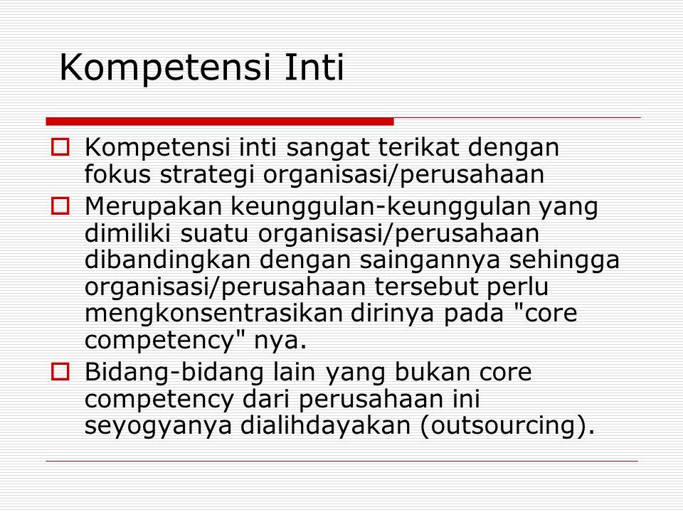Kompetensi Inti  Kompetensi inti sangat terikat dengan fokus strategi organisasi/perusahaan  Merupakan keunggulan-keunggulan yang dimiliki suatu org