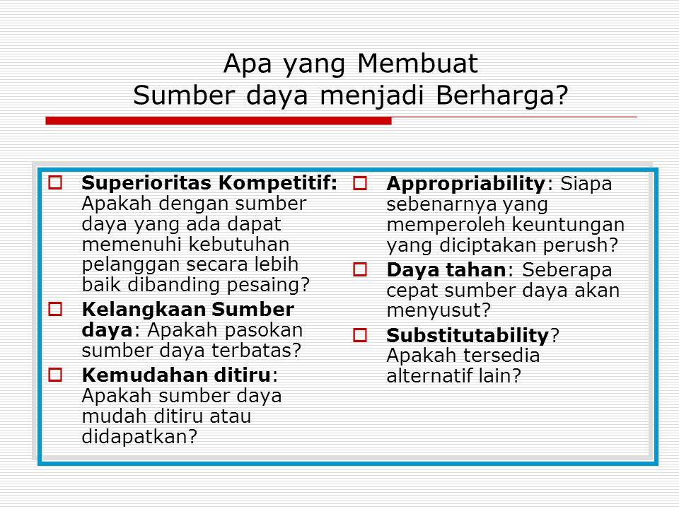 Apa yang Membuat Sumber daya menjadi Berharga?  Superioritas Kompetitif: Apakah dengan sumber daya yang ada dapat memenuhi kebutuhan pelanggan secara