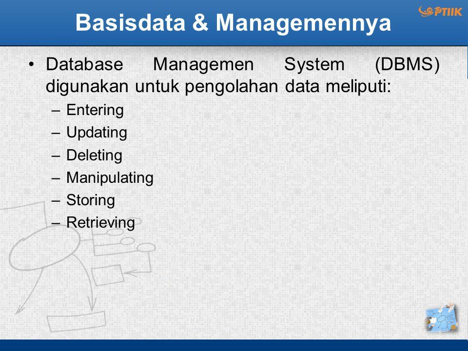 Basisdata & Managemennya Database Managemen System (DBMS) digunakan untuk pengolahan data meliputi: –Entering –Updating –Deleting –Manipulating –Stori