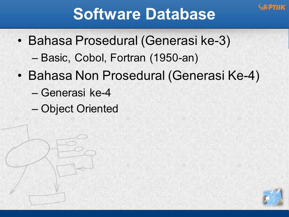 Software Database Bahasa Prosedural (Generasi ke-3) –Basic, Cobol, Fortran (1950-an) Bahasa Non Prosedural (Generasi Ke-4) –Generasi ke-4 –Object Orie