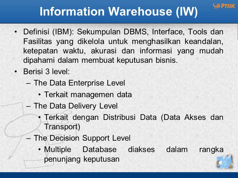 Information Warehouse (IW) Definisi (IBM): Sekumpulan DBMS, Interface, Tools dan Fasilitas yang dikelola untuk menghasilkan keandalan, ketepatan waktu