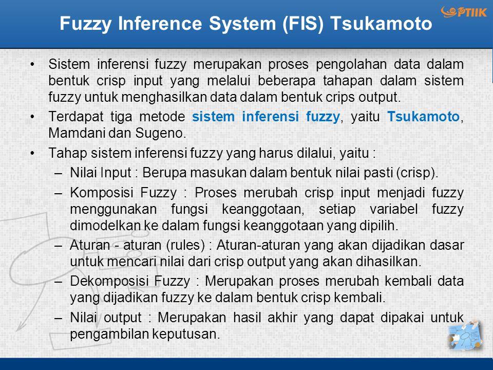 Fuzzy Inference System (FIS) Tsukamoto Sistem inferensi fuzzy merupakan proses pengolahan data dalam bentuk crisp input yang melalui beberapa tahapan