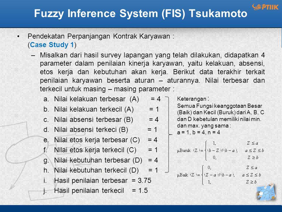 Fuzzy Inference System (FIS) Tsukamoto Pendekatan Perpanjangan Kontrak Karyawan : (Case Study 1) –Misalkan dari hasil survey lapangan yang telah dilak