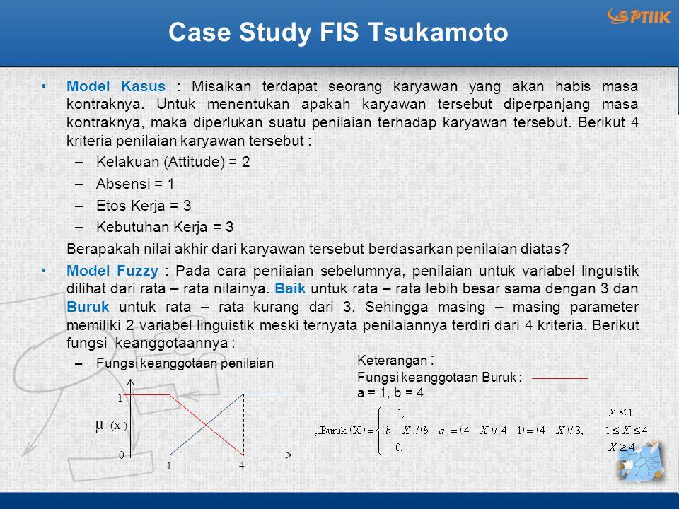 Case Study FIS Tsukamoto Model Kasus : Misalkan terdapat seorang karyawan yang akan habis masa kontraknya. Untuk menentukan apakah karyawan tersebut d